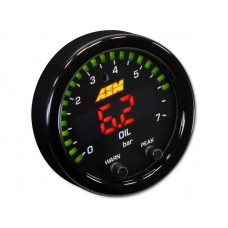 AEM X-Series Pressure Gauge 0~100psi / 0~7bar . Black Bezel & Black Oil Faceplate  30-0301