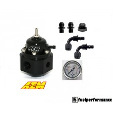 AEM Universal Adjustable Fuel Pressure Regulator, Gauge & AN Fittings Kit #25-302BK
